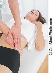 test, physiotherapist, közelkép, woman's, masszázs