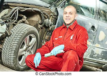 test, rendbehozás, autó, munka, szerelő, autó
