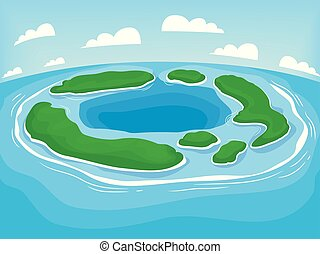 test, vidék, ábra, atoll