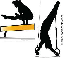 testedzés, körvonal, vektor, sport