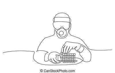tests., coronavirus, jelkép, orvosi, elemez, bot, covid-19