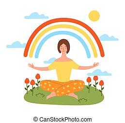 testtartás, nő, békés, jóga, elmélkedik, lótusz
