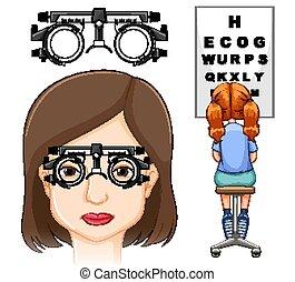 teszt, orvosi, szem, tudományos, ábra