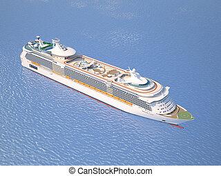 tető, óceán, kilátás, luxushajó, kilátás