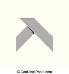 tető, alakít, jelkép, vektor, tervezés, origami, egyszerű