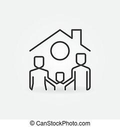 tető, család, épület, alatt, ikon, vektor, egyenes, boldog, fogalom