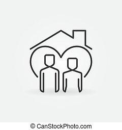 tető, egyenes, ember, épület, nő, vektor, ikon, alatt