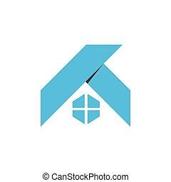 tető, egyszerű, vektor, alakít, jelkép, tervezés, origami