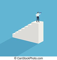 tető, ember, lépcsősor, félszemű
