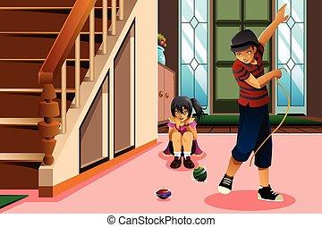 tető, gyerekek, fonás, játék