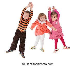 tető, gyerekek, három, fekvő, kilátás