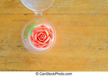tető kilátás, erdő, rózsa, asztal, zselé