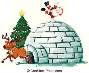 tető, klaus, szent, jégkunyhó