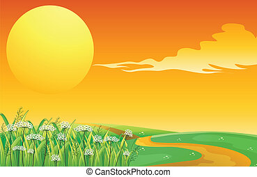 tető, napnyugta, gyalogjáró, hegy