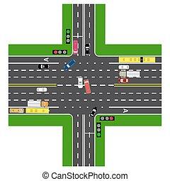 tető, non-principal, forgalom, metszőpont, roads., infographics., autók, zöld, highway., út szemafor, legtöbb, transport., megrakott, road., kilátás, autóút, térkép, lights., közönség