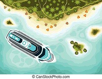 tető, tropikus, cirkálás, sziget, hajó, kilátás