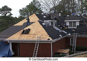 tetőszerkezet, férfiak, épület