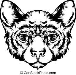 tetovál, ábra, csinos, macska, arc