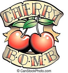 tetovál, bombáz, csíptet, cseresznye, tervezés, művészet