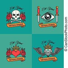 tetovál, címez, állhatatos, colorfull, műterem