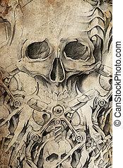 tetovál, dolgozat, tervezés, koponya, szüret