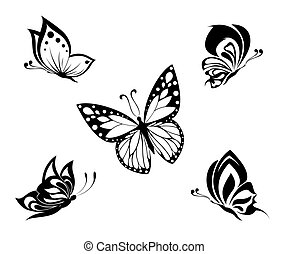 tetovál, fehér, fekete, pillangók