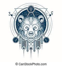 tetovál, fej, hord, dél, vektor, ábra, elülső, geometriai, kilátás