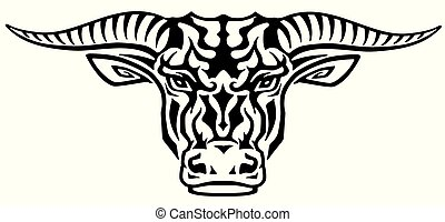 tetovál, fej, törzsi, bika