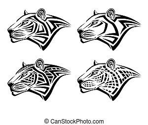 tetovál, forma, törzsi, leopárd
