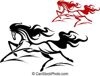 tetovál, futás, ló