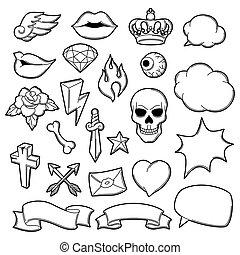 tetovál, izbogis, symbols., öreg, ábra, állhatatos, retro, karikatúra