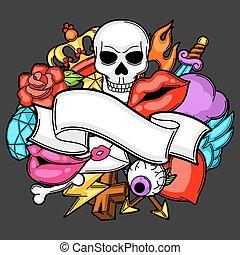 tetovál, izbogis, symbols., öreg, ábra, retro, háttér, karikatúra