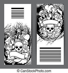 tetovál, izbogis, symbols., öreg, ábra, retro, szalagcímek, karikatúra