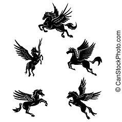 tetovál, jelkép, ló, szárny