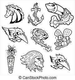 tetovál, különféle, betűk, kabala