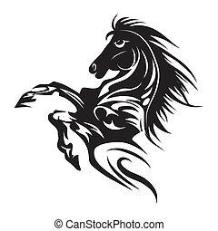 tetovál, ló, embléma, jelkép, elszigetelt, vagy, tervezés, jel, fehér, template.