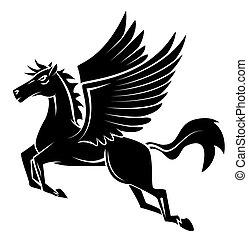 tetovál, ló, szárny