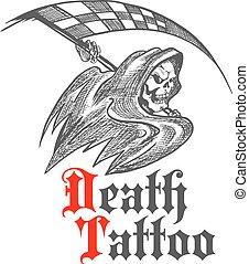 tetovál, lobogó, versenyzés, tervezés, csontváz