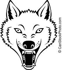 tetovál, mérges, farkas fő
