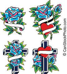 tetovál, mód, rózsa