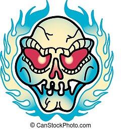 tetovál, művészet, fénylik, csíptet, tervezés, koponya