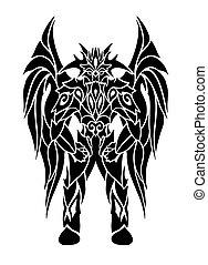 tetovál, művészet, szárnyas, démon, fekete, karikatúra