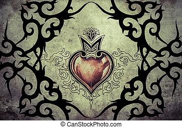 tetovál, művészet, szív, törzsi, tervezés, piros