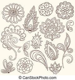 tetovál, paisley, vektor, hennabokor, doodles