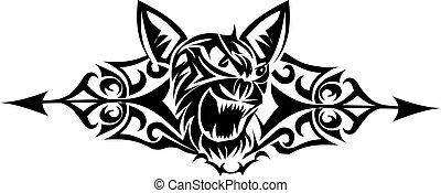 tetovál, szüret, macska, vad, tervezés, engraving.