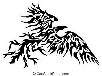 tetovál, törzsi, főnix madár