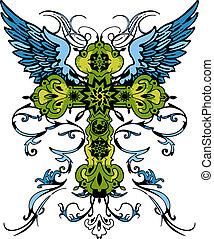 tetovál, törzsi, kereszt, klasszikus