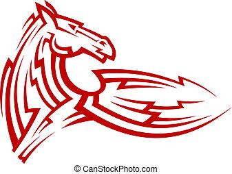 tetovál, törzsi, ló, amerikai félvad ló, piros