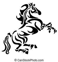 tetovál, törzsi, ló