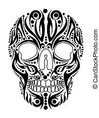 tetovál, törzsi, vektor, művészet, koponya